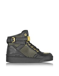 Moschino Black Leather Sneaker W Gold Tone Studs