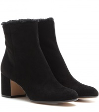 Gianvito Rossi Fur Lined Suede Ankle Boots Black
