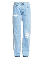 Aries Simons Reflective High Rise Straight Leg Jeans