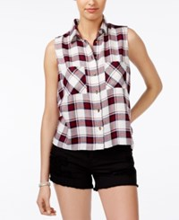 Polly And Esther Juniors' Plaid Sleeveless Button Front Shirt Cream Navy