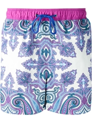 Etro Baroque Print Swim Shorts Pink And Purple