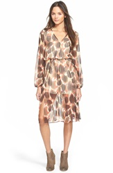 Painted Threads Print Long Sleeve Midi Dress Brown Almond