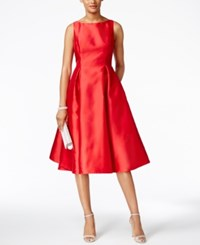 Adrianna Papell Boat Neck A Line Dress Red
