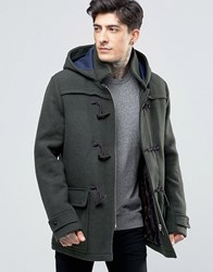 Scotch And Soda Duffle Coat In Wool In Green Marl Green Marl