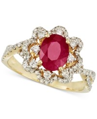 Rare Featuring Gemfield's Rare Featuring Gemfields Certified Ruby 1 Ct. T.W. And Diamond 1 2 Ct. T.W. Ring In 14K Gold