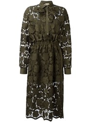 N 21 Nao21 Floral Lace Shirt Dress Green
