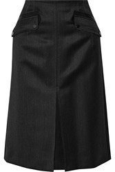 Belstaff Highbridge Leather Trimmed Wool Skirt Gray