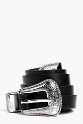Boohoo Western Buckle Belt Black
