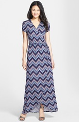 Loveappella Cap Sleeve Faux Wrap Jersey Maxi Dress Regular And Petite Navy Red Chevron