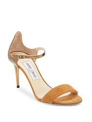 Jimmy Choo Open Toe Suede And Leather Sandals Brown
