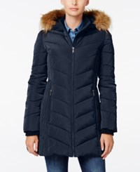 Tommy Hilfiger Faux Fur Trim Hooded Puffer Coat Navy