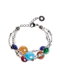 Antica Murrina Veneziana Redentore 1 Multicolor Murano Glass Drops And Silver Leaf Bracelet