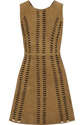 Maje Rigolette Perforated Paneled Suede Mini Dress Brown