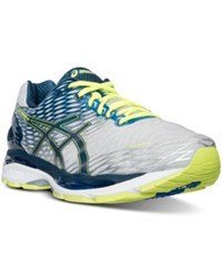 Asics Men's Gel Nimbus 18 Wide Width Running Sneakers From Finish Line Silver Ink Flash Yellow