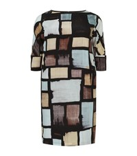 Marina Rinaldi Square Print Silk Dress Female Multi