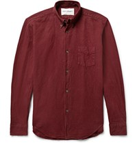 Our Legacy 1950 Button Down Collar Linen And Cotton Blend Hirt Burgundy