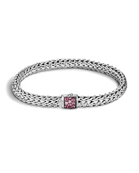 John Hardy Classic Chain Lava Sterling Silver Small Bracelet With Pink Spinel