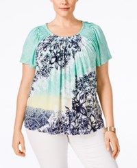 Styleandco. Style And Co. Plus Size Printed Pleated Short Sleeve Top Only At Macy's Summer Solstice