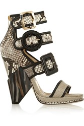 Jimmy Choo Kaya Leather Trimmed Python Cobra And Canvas Sandals