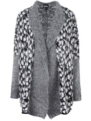Just Cavalli Patterned Panel Cardi Coat Grey