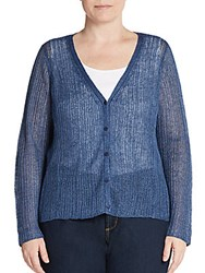 Eileen Fisher Plus Size V Neck Linen Cardigan Denim