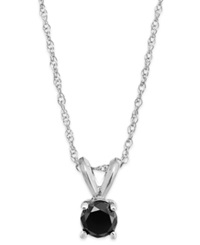 Macy's Black Diamond Round Pendant Necklace In 10K White Gold 1 5 Ct. T.W.