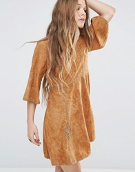 Moon River Suede Mid Sleeve Dress With Trim Light Brown