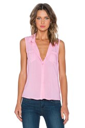 Splendid Rayon Voile Button Up Tank Pink