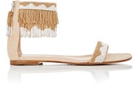 Gianvito Rossi Women's Beaded Ankle Cuff Sandals Beige Size 7.5