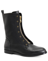 Carmen Marc Valvo Shawna Tumbled Leather Mid Shaft Boots Black