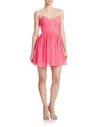 Hailey Logan Illusion Chiffon Party Dress Shocking Pink