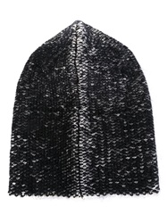 Isabel Benenato Knitted Beanie Hat Black