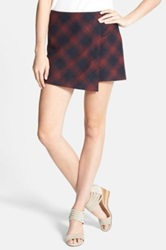 Hinge Asymmetrical Plaid Skort Blue