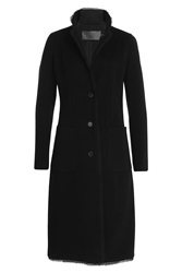 Donna Karan New York Cashmere Coat With Silk Chiffon Hem Black