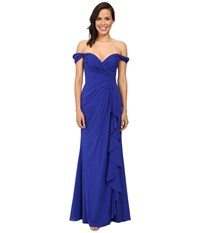 Badgley Mischka Off The Shoulder Silk Ruffle Front Gown Electric Blue Women's Dress