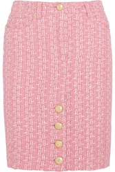 Moschino Raffia And Boucle Tweed Pencil Skirt Pink