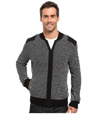 Kenneth Cole Marled Bomber Jacket W Felt Charcoal Heather Men's Coat Gray