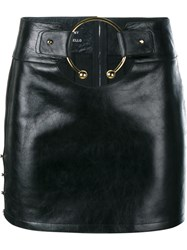 Anthony Vaccarello Leather Mini Skirt With Gold Ring Black