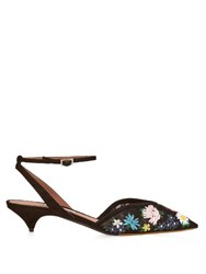 Tabitha Simmons Riley Embroidered Suede Pumps Black Multi