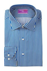 Lorenzo Uomo Long Sleeve Trim Fit Striped Dress Shirt Blue