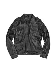 Forzieri Black Genuine Italian Leather Motorcycle Zip Jacket