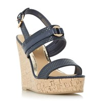 Head Over Heels Kaylee Two Part Cork Wedge Sandals Navy