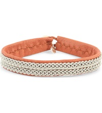 Maria Rudman Leather And Embroidered Pewter Bracelet Tan Wht