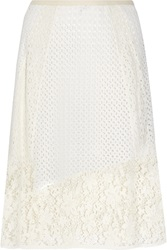 See By Chloe Broderie Anglaise Cotton And Crocheted Lace Midi Skirt
