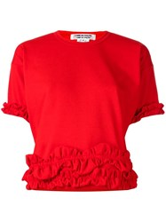 Comme Des Garcons Frill Trimmed T Shirt Red