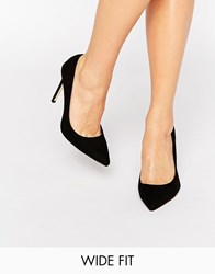 Faith Wide Fit Chloe Black Court Shoes Black
