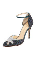 Charlotte Olympia Twilight Princess Pumps Night Sky Blue Fantasy Silver
