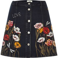 River Island Womens Black Floral Embroidered A Line Denim Skirt