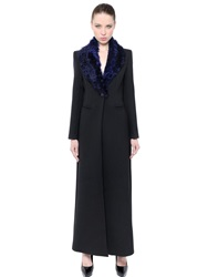 Balmain Long Wool And Shearling Coat Black Blue