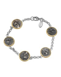 1884 Jewelry Appia Silver And 18K Ottaviano Coin Station Bracelet Women's